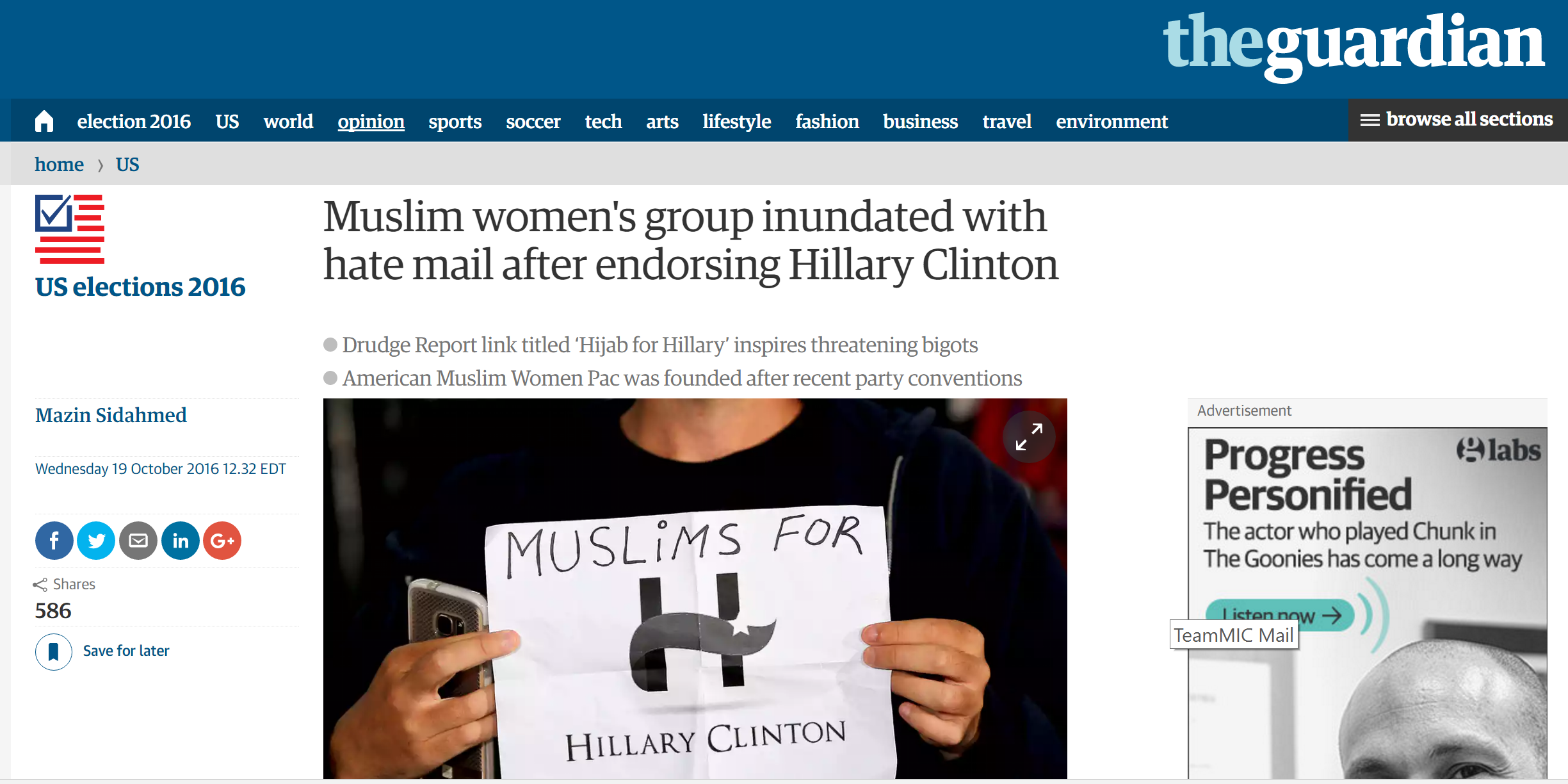 American Muslim Women PAC featured in the Guardian on 10-19-2016